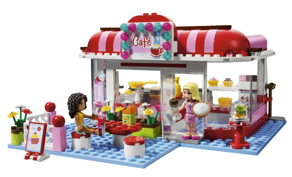 BELA Friends Series City Park Cafe Building Blocks Classic For Girl Kids Model Toys Marvel Compatible Legoe new 7033 friends series the city park cafe pirate ship model building block classic girl toys compatible with lepin