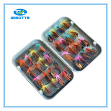 New 32pcs/sets Fly Fishing Lure Set Artificial Insect Bait Trout Fly Fishing Hooks Tackle With Case Box Fishhooks