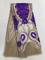 Haute qualité paillettes français dentelle pourpre paillettes dentelle de tulle africain tissus 2017 dernière conception pour robes de soirée 5 yard/lot