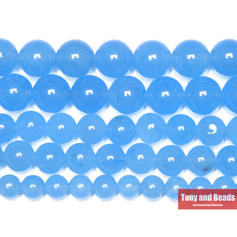 Free Shipping Natural Stone Lt Blue Chalcedony Jades Round Loose Beads 6 8 10 MM Pick Size