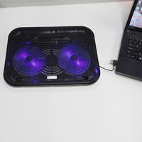 2 LED Laptop Fan USB Notebook Stand Rack Cooling Cooler Base Pad