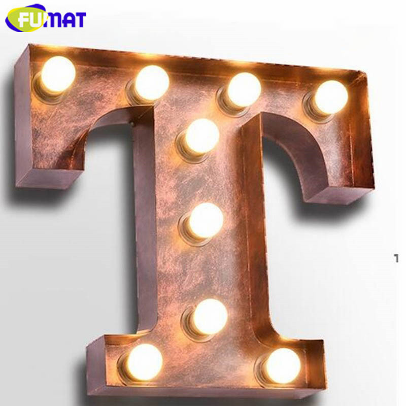 Fumat Iron Letters T Wall Lamps Vintage Iron Wall Light
