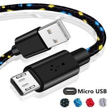 1m 2m 3m naylon örgülü mikro USB kablosu Data Sync USB şarj aleti kablosu Samsung Huawei Xiaomi Android telefon kabloları hızlı şarj