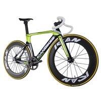 ICAN логотип полный карбоновая Аэро фиксированный Шестерни трек велосипед без тормозов Односкоростной велосипед UD Глянцевая Зеленый Готовы
