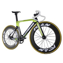 ICAN logo Full Carbon Aero Fixed Gear Track Bike without brake single speed bicycle UD Glossy Green Finished size 49/51/54/56cm