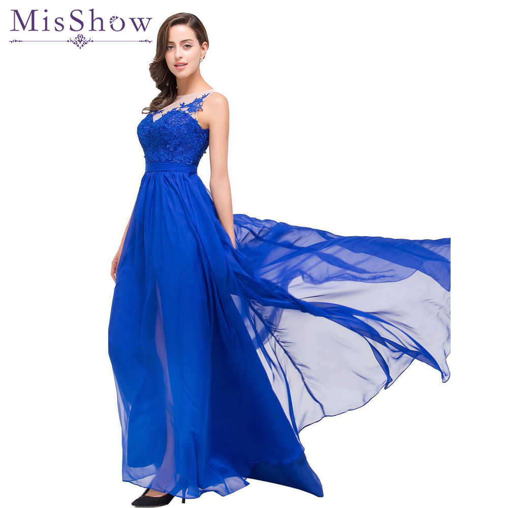 Final Clear out Sexy Lace A line Evening Dresses Long Royal Blue Formal Dress Elegant