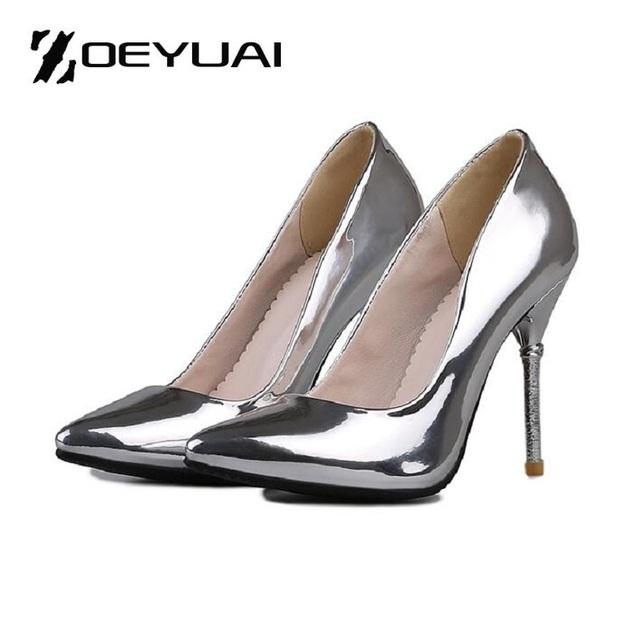 Patente brilhante Couro Clássico Mulheres Bombas Toe Pontas Finas de Salto Alto Mulheres Sapatos Sapatos de Festa Sapatos de Casamento Mulher Sexy Ladies Shoes