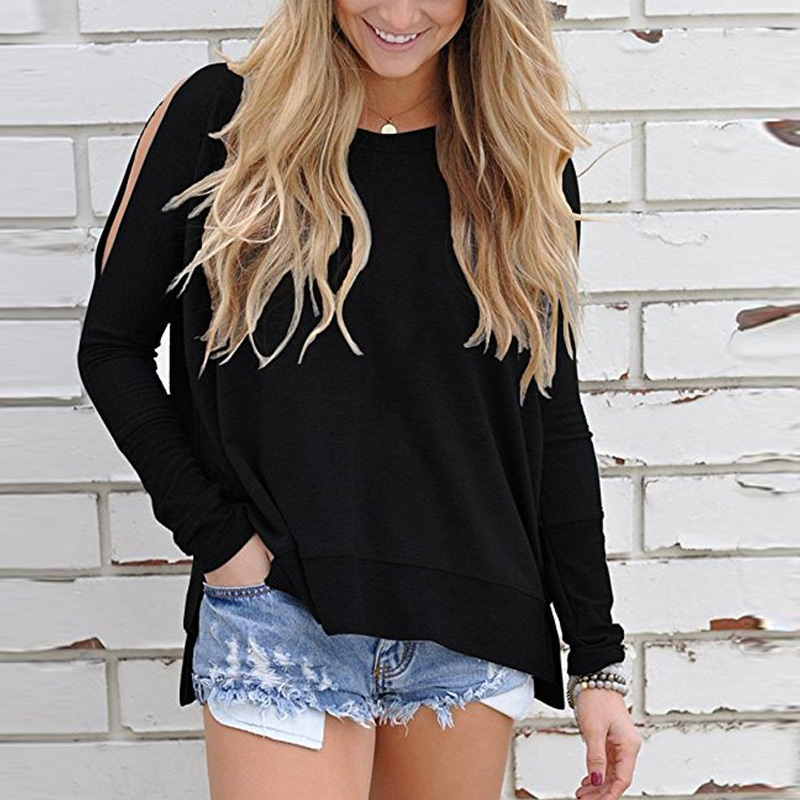 Women Autumn T-shirts Off Shoulder Round Neck Long Sleeves Loose Casual Tops FS99