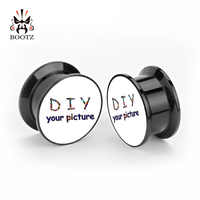 KUBOOZ acrílico personalizado tapones para los oídos túneles Piercing joyería del cuerpo oreja expansor de medidores venta por par 6-30mm pendientes de moda para regalo