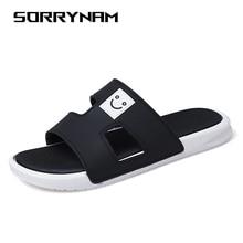 лучшая цена Men Slippers 2019 Summer Mens Shoes Casual Breathable Beach Sandals Slippers Wedge Black White Flip Flops Men Slides Flat