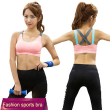 Newfashion bra set underwear women sleeveless skinny fitness shockproof vest wicking quick-drying cross strap elastic women tops