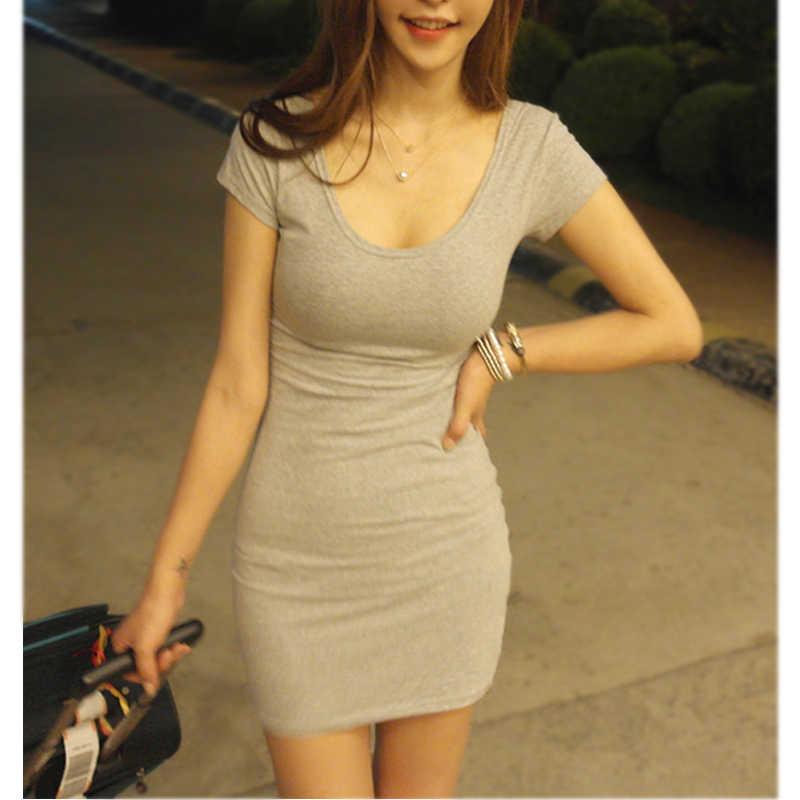 2019 горячая Распродажа, женское летнее мини-платье с коротким рукавом, необычное однотонное сексуальное облегающее короткое платье, облегающее сексуальное обтягивающее платье