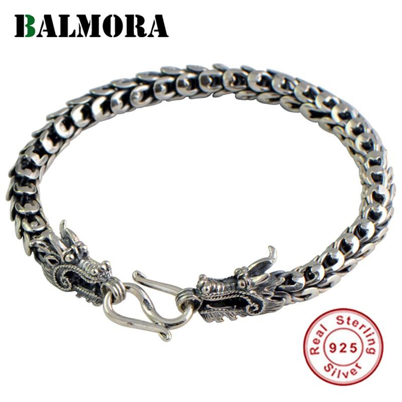 BALMORA 100% Réel 925 Sterling Silver Dragon Head Bracelets pour Hommes Bijoux De Mode sur 20 cm Vintage Punk Bracelet JWB57016