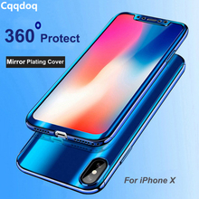 Cqqdoq 360 Fitted Plating Mirror Case For iPhone 6 6S 7 8 Plus Hard Full Protection Phone Bag X XR XS MAX Cases Coque