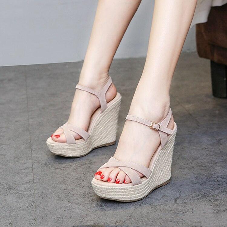Straw Wedges Sandals Korean Wild Roman Thick-soled Muffin Waterproof Platform Genuine Leather High Heels Bohemian Womens Sandals