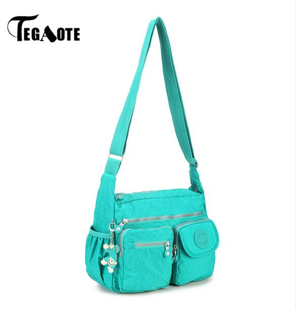 TEGAOTE Nylon Women Shoulder Bags Solid Zipper Bags Handbags Women Messenger Bag Summer Beach Crossbody Bags Female Sac A Main beach straw bags women appliques beach bag snakeskin handbags summer 2017 vintage python pattern crossbody bag