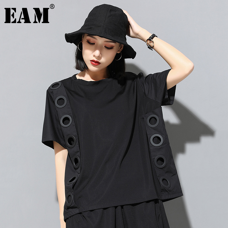 [EAM] 2020 New Spring Summer Round Neck Short Sleeve Black Hollow Out Split Joint Big Size T-shirt Women Fashion Tide JW045