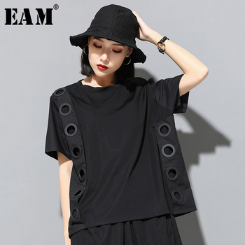 [EAM] 2021 New Spring Summer Round Neck Short Sleeve Black Hollow Out Split Joint Big Size T-shirt Women Fashion Tide JW045 - discount item  17% OFF Tops & Tees