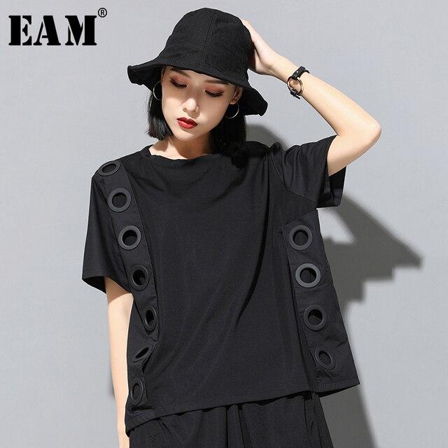 [Eam] 2020春夏新作ラウンドネック半袖黒中空スプリットジョイントビッグサイズのtシャツ女性ファッション潮JW045