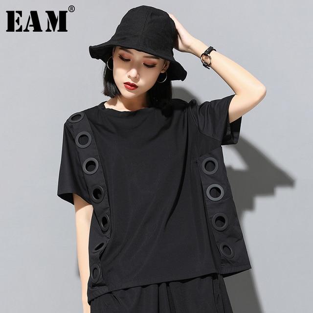 [Eem] 2020 yeni bahar yaz yuvarlak boyun kısa kollu siyah Hollow Out bölünmüş ortak büyük boy T shirt kadın moda gelgit JW045