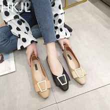 HKJL Spring 2019 new girl style metal buckle pointed shallow mouth single shoes women versatile fashion A135