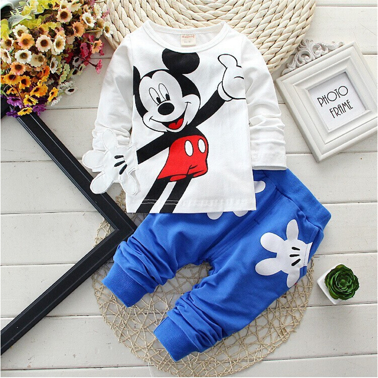 Retail New Baby Girls Boys Mickey Clothing Sets Kids Character Cotton Long Sleeve Shirt +Pants Suit Children Clothing купить