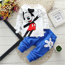 Retail New Baby Girls Boys Mickey Clothing Sets Kids Character Cotton Long Sleeve Shirt +Pants Suit Children Clothing