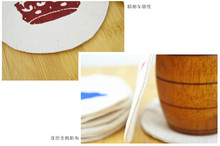 Customized practical creative round fun pattern cotton canvas cloth insulation mat coasters dinning placemat pads