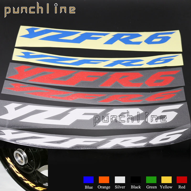 Fit For YAMAHA YZF R6 YZF-R6 YZFR6 Motorcycle Front & Rear CUSTOM INNER RIM DECALS WHEEL Reflective STICKERS STRIPES