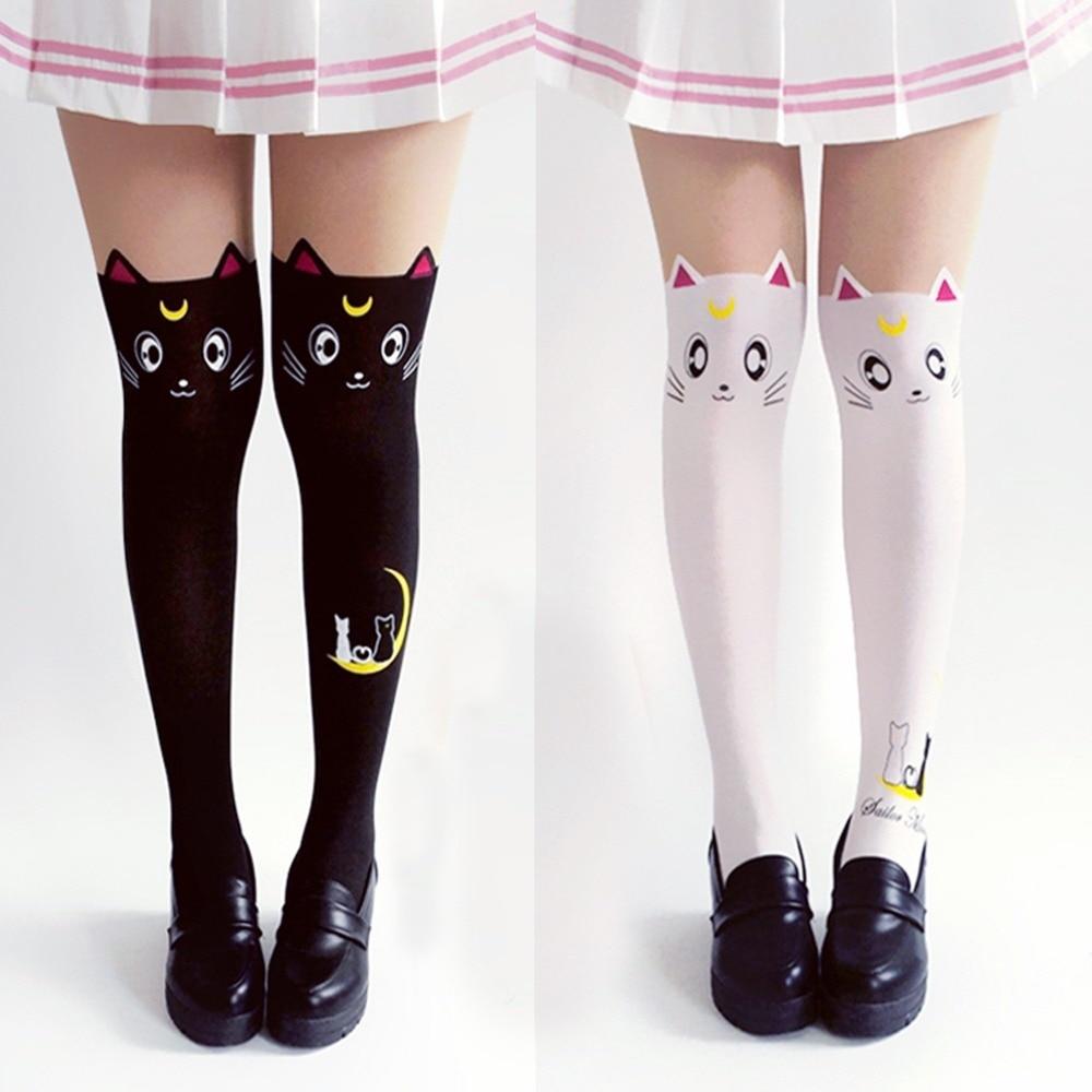 Hot Anime Sailor Moon Cosplay Costume Women Luna Cat Socks Pantyhose Silk Tights Leggings Stockings Black And White