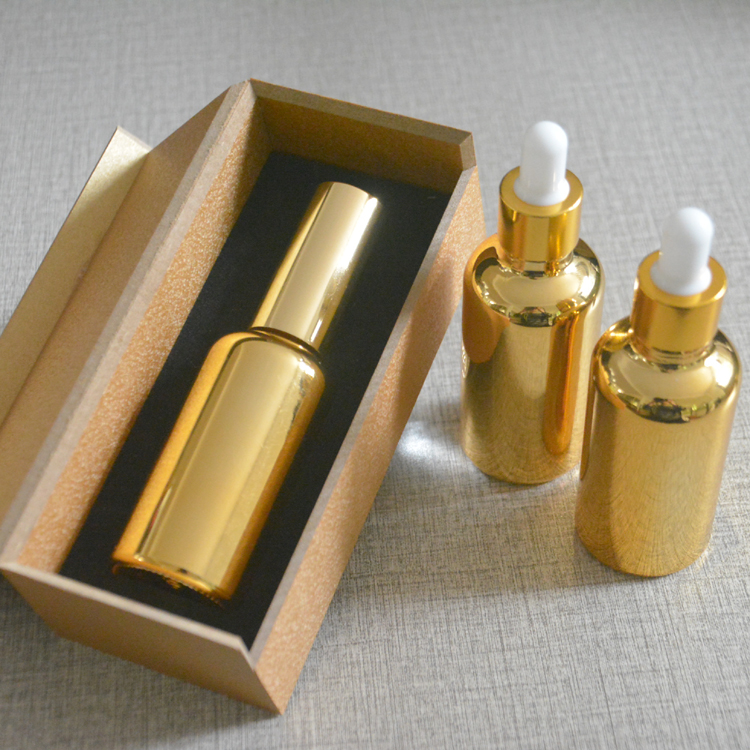 4pcs 50ml High temperature gold plated dropper bottle With wooden box,empty glass essential oil bottle, perfume subpackage jar illusion money box dream box money from empty box wonder box magic tricks props comedy mentalism gimmick
