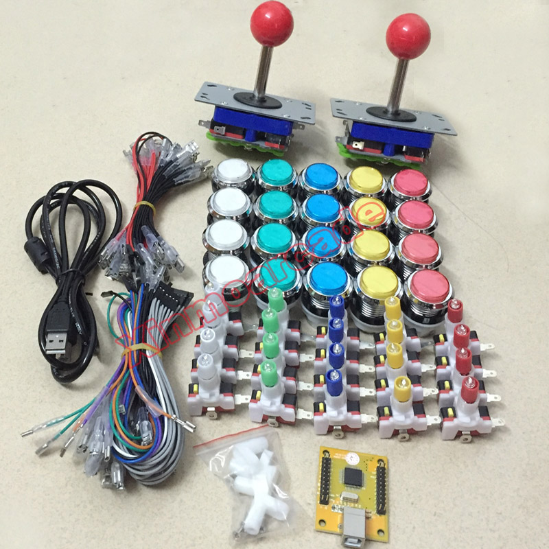 Arcade game DIY KIT FOR 2 players PC PS/3 2 IN 1 to arcade joystck LED button interface USB 2 player MAME Interface USB to Jamma покрывало marianna покрывало kramfors 230х250 см