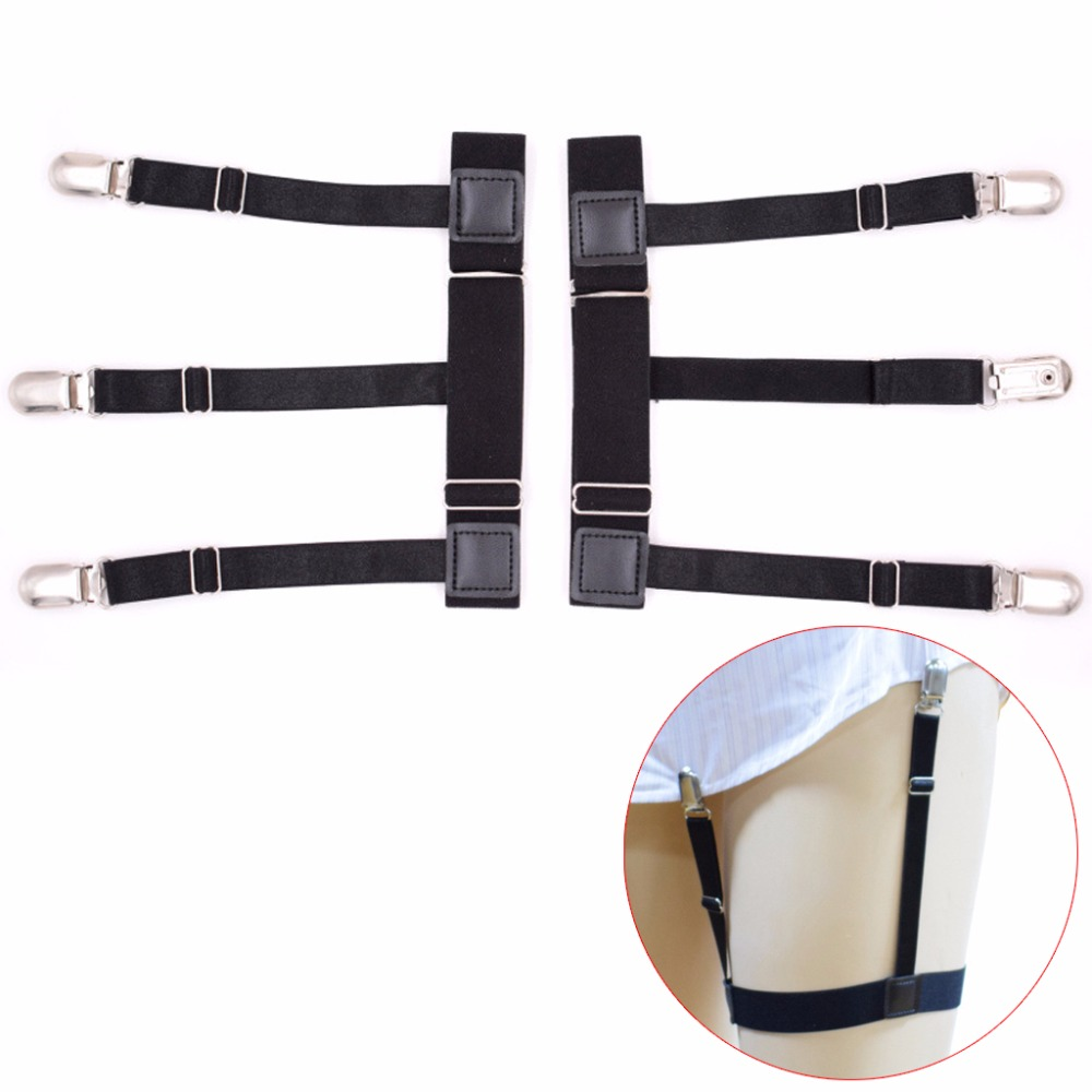 Responsible 2pcs/set Mens Adjustable Elastic Leg Suspenders Shirt Stays Holder Non-slip Locking Clamps 3 Buckles Anti-wrinkle Men's Accessories Men's Suspenders