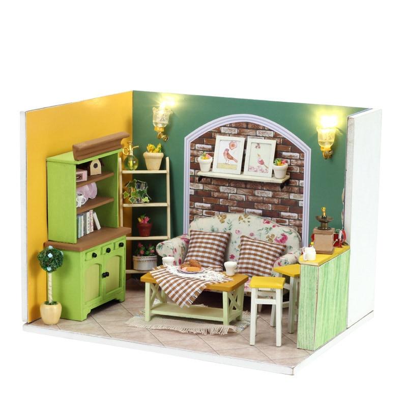 DIY LED Kids Lovely Handmade Light House Doll Cute Miniature Furniture Models & Building Toy Children Wood Birthday Gift GH567