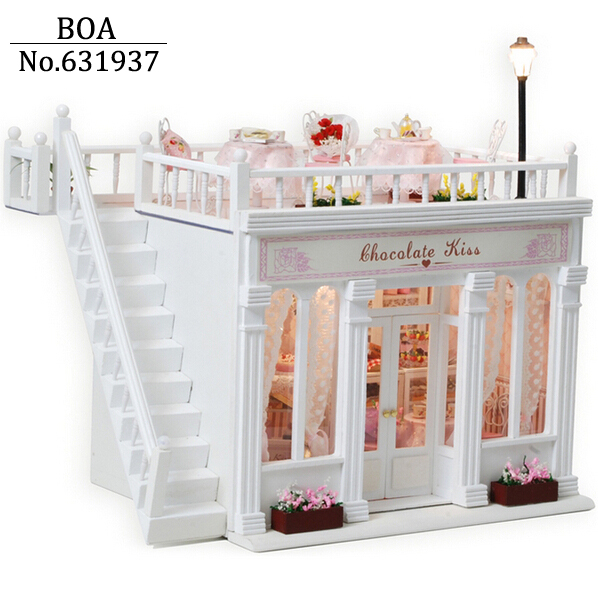 Diy casa de boneca mini modelo Kits 3D Handmade casa de bonecas de brinquedo de presente de Chocolate beijo