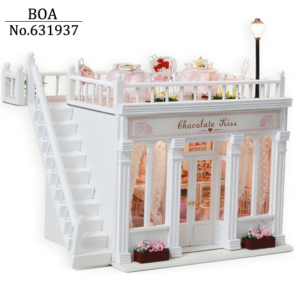 ФОТО Free shipping Diy Doll House Miniature Model Building Kits 3D Handmade Dollhouse Christmas Birthday Gift Toy Chocolate Kiss