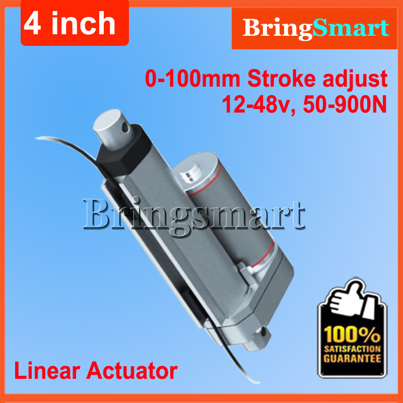 Wholesale 12V 100mm linear actuator 900N load 24v Tubular Motor Stroke adjusted control 4 inch mini electric Motor wholesale 12v linear actuator 150mm 6 inch stroke 7000n 700kg load waterproof 36v tubular motor 48v mini electric actuator 24v