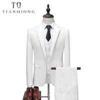 White 4 Piece Suit Men Korean Fashion Business Mens Suits Designers 2018 Slim Fit Wedding Suits for Men Jacket+Vest+Pants+ Tie
