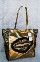Gold women handbag Leopard lace shopping bags Lace lips shoulder bag authentic brand handbags