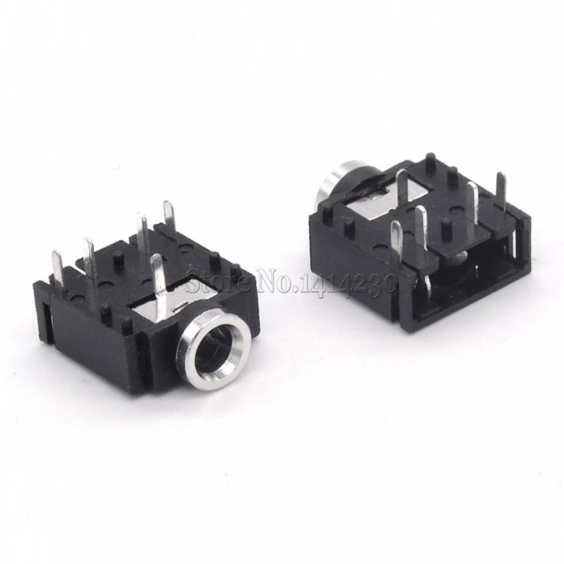 10Pcs 3.5mm Stereo Jack Socket Audio Jack Connector PCB 3F07 PJ-307 50pcs smd 3 5mm stereo audio socket phone jack connector 3 pin pcb mount