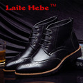 Laite Hebe Men 's Leather Business Boots 2016 New High Quality Genuine Leather Martin Boots Anti-Skid Rivet Lace-Up Men's Shoes