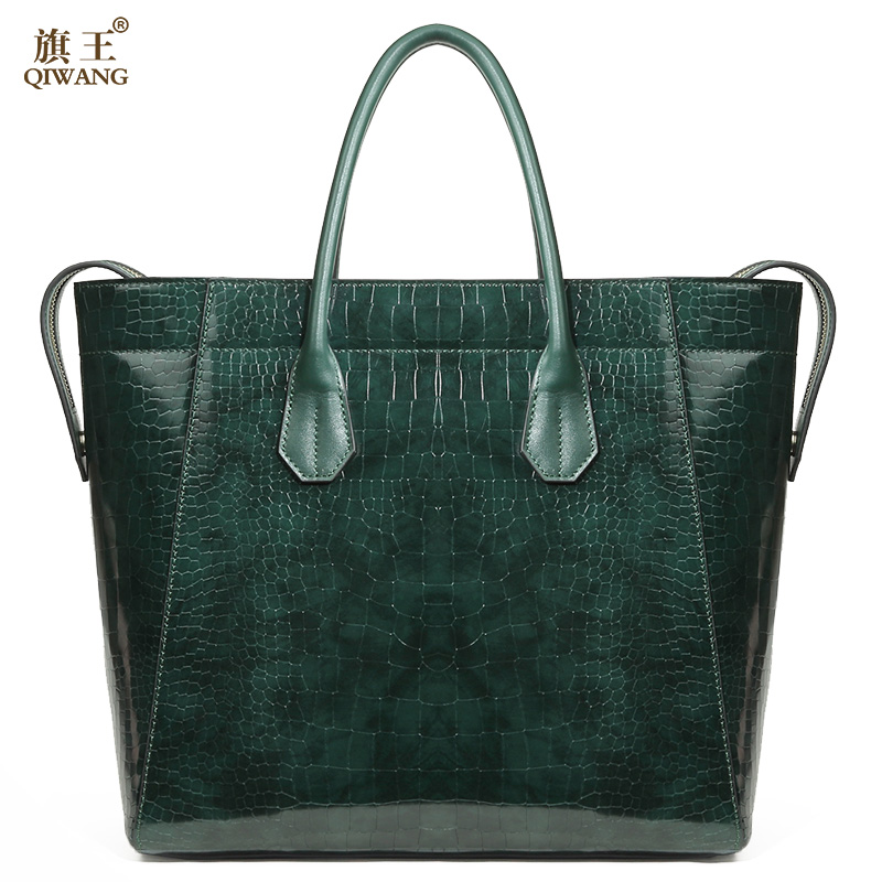 Qiwang Green Luxury Bag for Women Genuine Leather Shiny Tote Bags Women Brand Design Handbag High Quality for Richer qiwang real genuine green leather women handbag suede green fashion tote bags elegant ladies luxury bag for women large