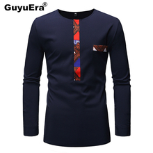 GuyuEra Best Selling Africa Dashiki Summer Mens New T-shirt Stitching Long-sleeved Shirt