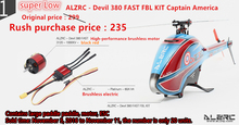 ALZRC – Devil 380 FAST FBL KIT Including 60A-V4 ESC  And 6S Brushless Motor 1000KV And Tail Belt Idler380 Airplane – Black –