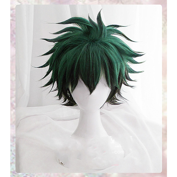 Midoriya Izuku Wig Anime My Boku No Hero Academia Izuku Midoriya Short Green Wig Headwear