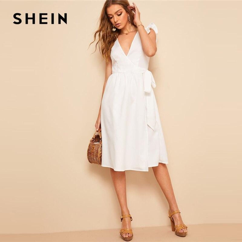 SHEIN Boho белое гофрированное платье с проймой и поясом, оберточная бумага миди летнее платье для женщин с глубоким v-образным вырезом без рукав...