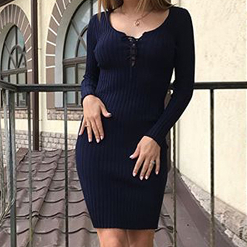 Casual Long Sleeve Knitted Sweater Dress Women Slim Bodycon Dress Female Autumn Winter Robe Femme Vestidos WS2667C