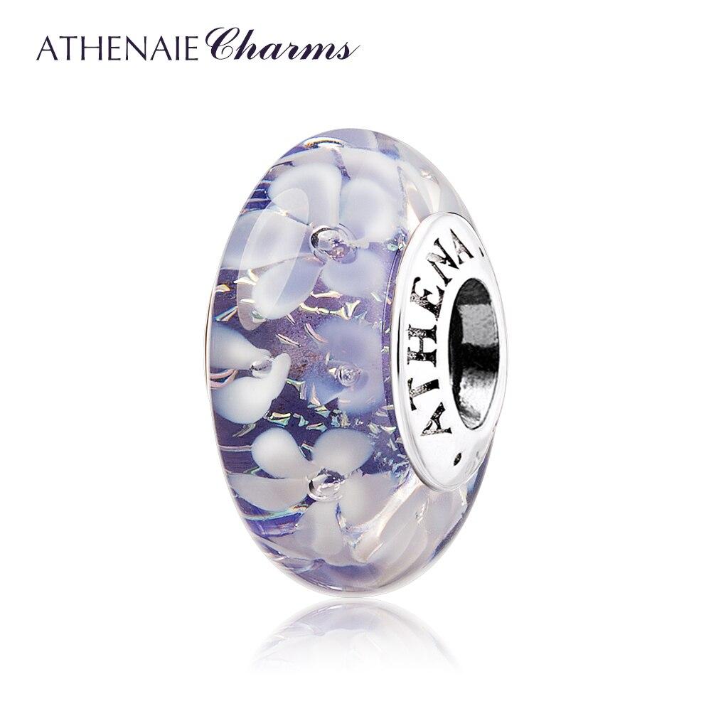 ATHENAIE Murano Glass 925シルバーコアパープルフラワーガーデンビーズチャームカラーパープルフィットブレスレット女性デコレーションクリスマスБраслет