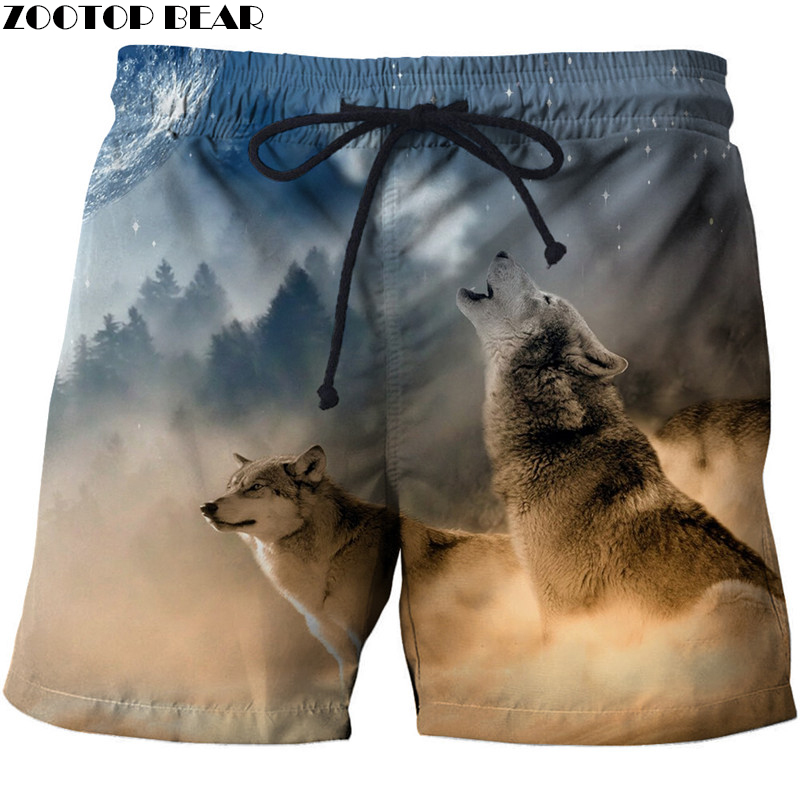 Desert Wolf 3D Printed Summer Surfing Beach Shorts Masculino Men Travel Board Shorts Anime Shorts Quick Vacation Streetwear