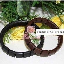 2 Pcs/lot (black+brown)Tourmaline energy bracelet tourmaline
